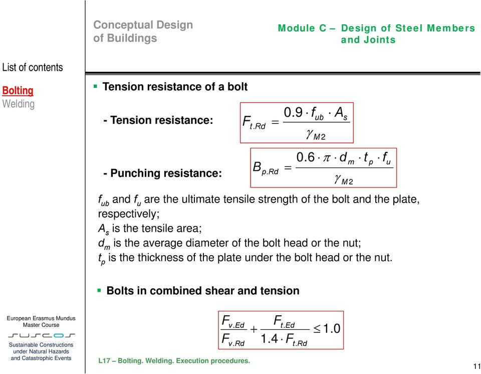 d m is the average diameter of the bolt head or the nut; t p is the thickness of the plate under the bolt head or
