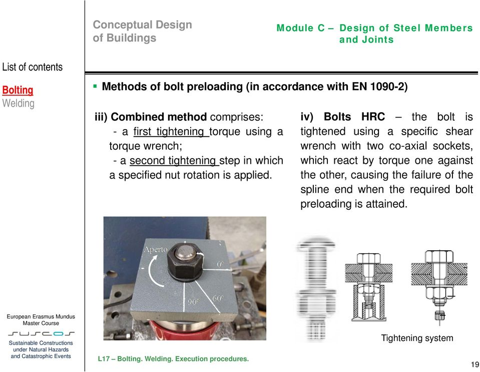 iv) Bolts HRC the bolt is tightened using a specific shear wrench with two co-axial sockets, which react by torque one