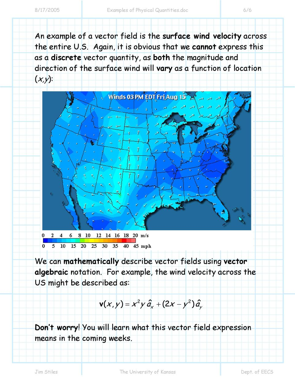 as a function of location (x,y): We can mathematically describe vector fields using vector algebraic notation.