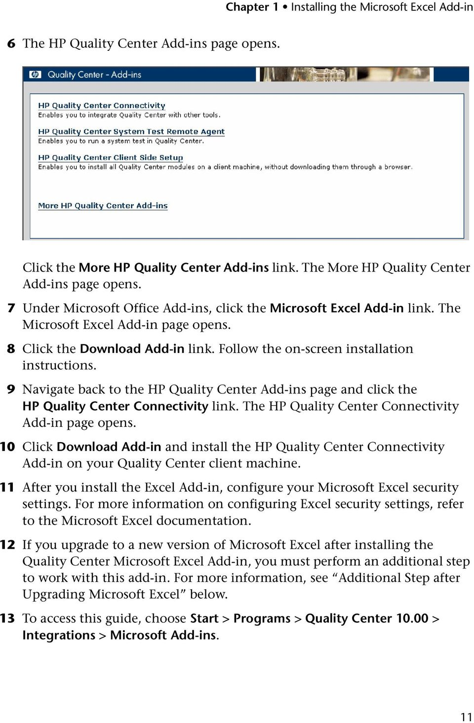 9 Navigate back to the HP Quality Center Add-ins page and click the HP Quality Center Connectivity link. The HP Quality Center Connectivity Add-in page opens.