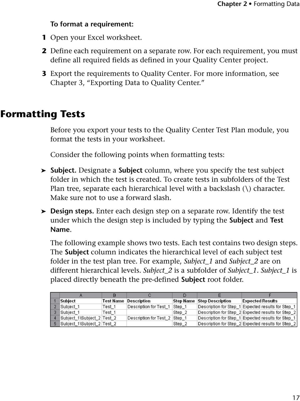 For more information, see Chapter 3, Exporting Data to Quality Center. Formatting Tests Before you export your tests to the Quality Center Test Plan module, you format the tests in your worksheet.