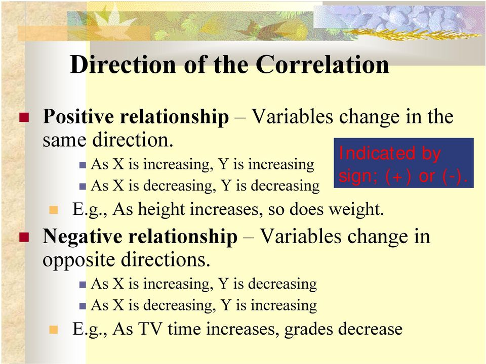 Negative relationship Variables change in opposite directions.
