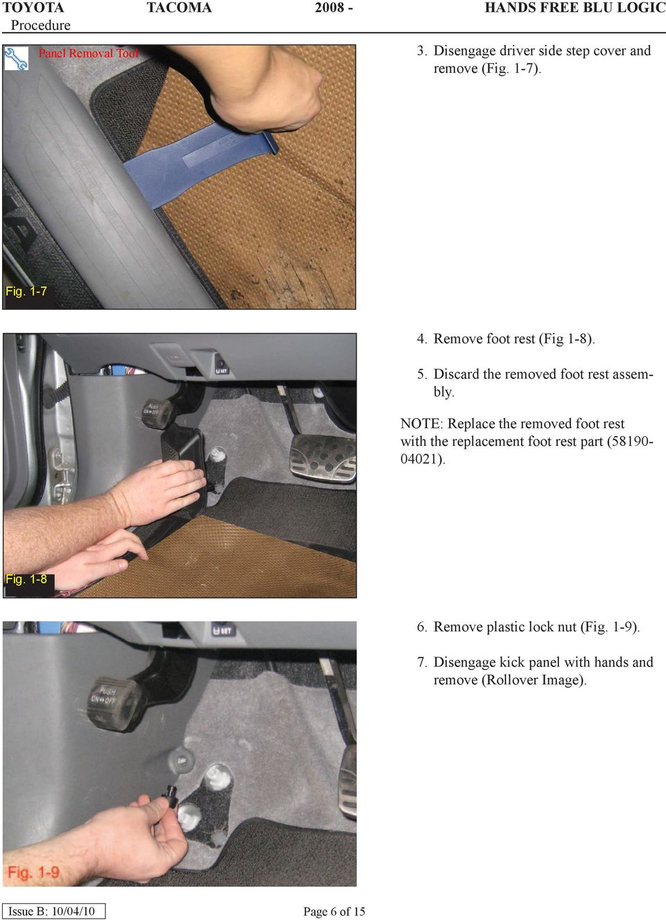 NOTE: Replace the removed foot rest with the replacement foot rest part (58190-04021). Fig.