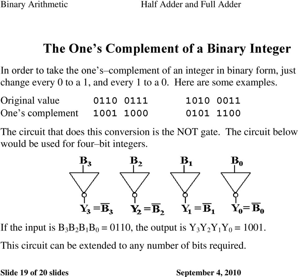 Original value 0110 0111 1010 0011 One s complement 1001 1000 0101 1100 The circuit that does this conversion is the NOT gate.