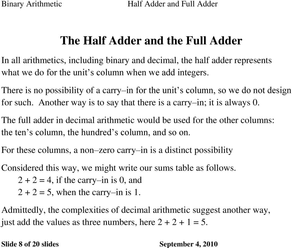 The full adder in decimal arithmetic would be used for the other columns: the ten s column, the hundred s column, and so on.