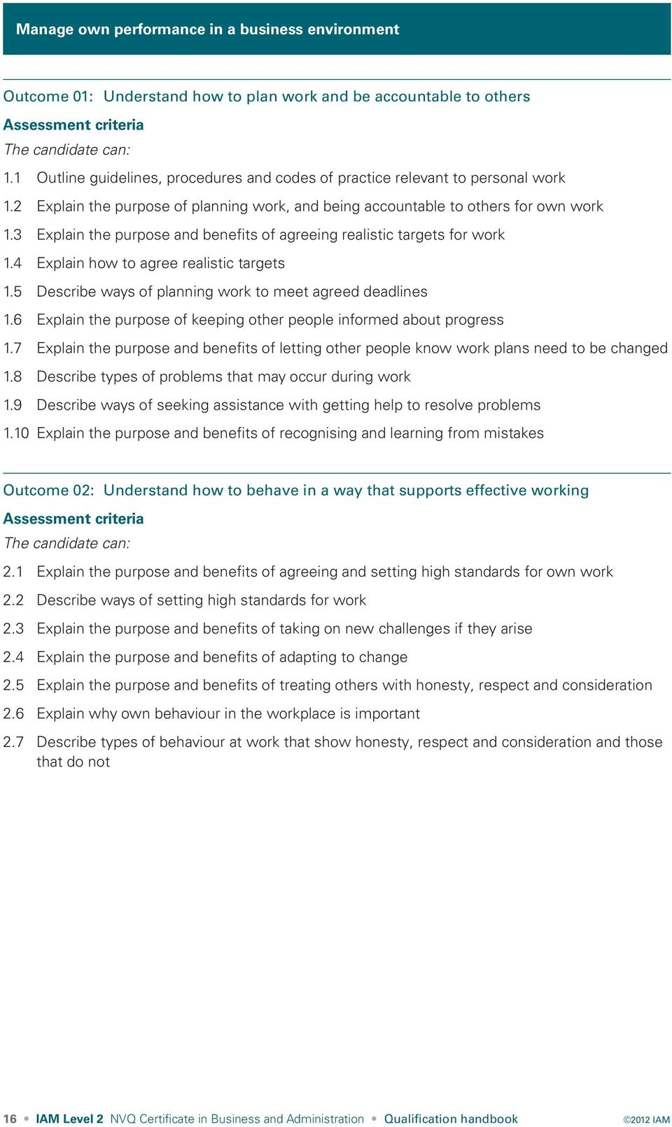 3 Explain the purpose and benefits of agreeing realistic targets for work 1.4 Explain how to agree realistic targets 1.5 Describe ways of planning work to meet agreed deadlines 1.
