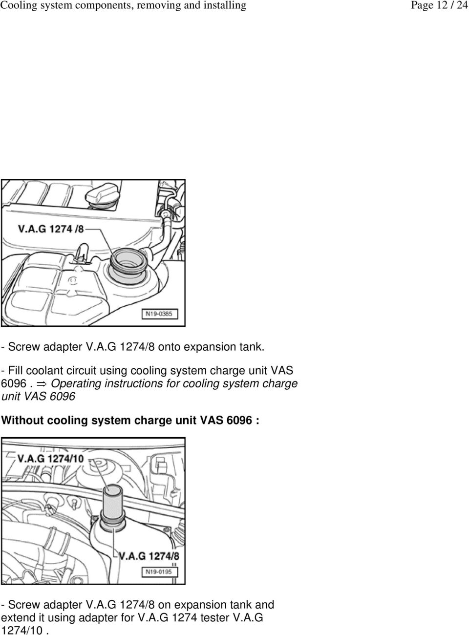 Operating instructions for cooling system charge unit VAS 6096 Without cooling system