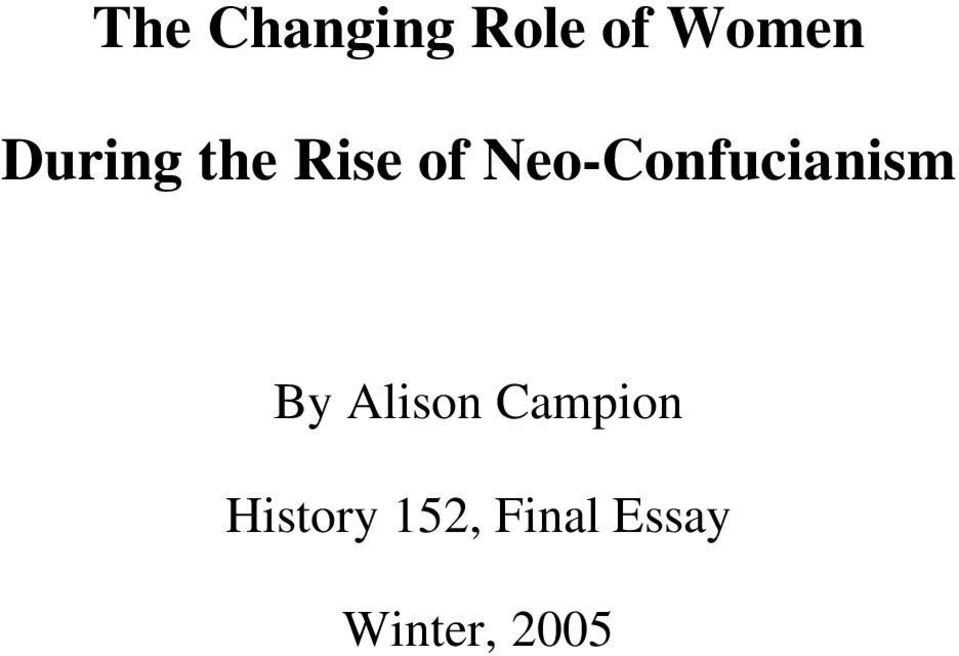 Neo-Confucianism By Alison