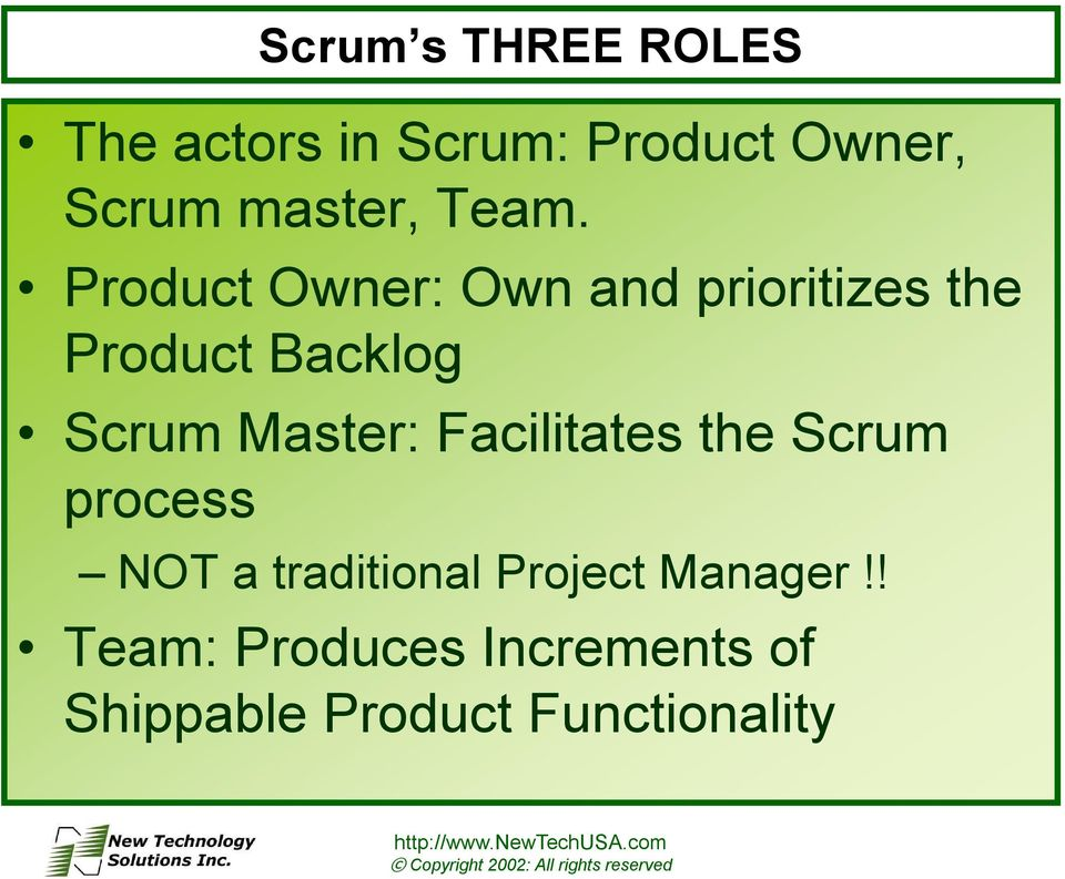 Product Owner: Own and prioritizes the Product Backlog Scrum