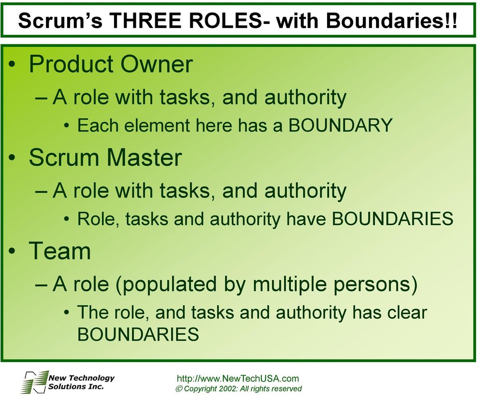BOUNDARY Scrum Master A role with tasks, and authority Team Role, tasks and