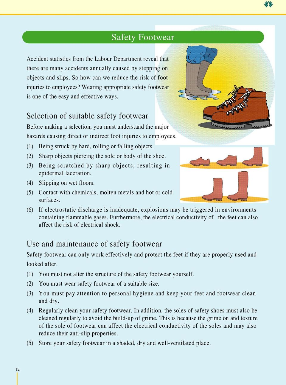 Selection of suitable safety footwear Before making a selection, you must understand the major hazards causing direct or indirect foot injuries to employees.