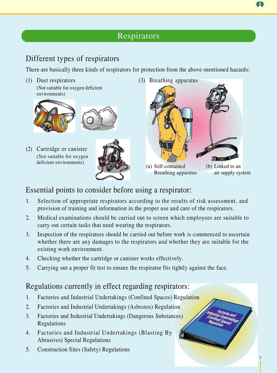 points to consider before using a respirator: 1.