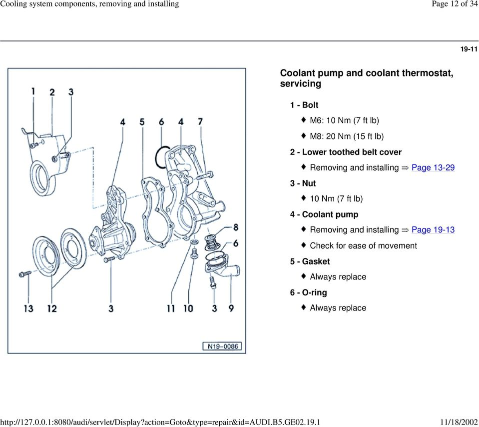 installing Page 13-29 10 Nm (7 ft lb) 4 - Coolant pump Removing and installing Page