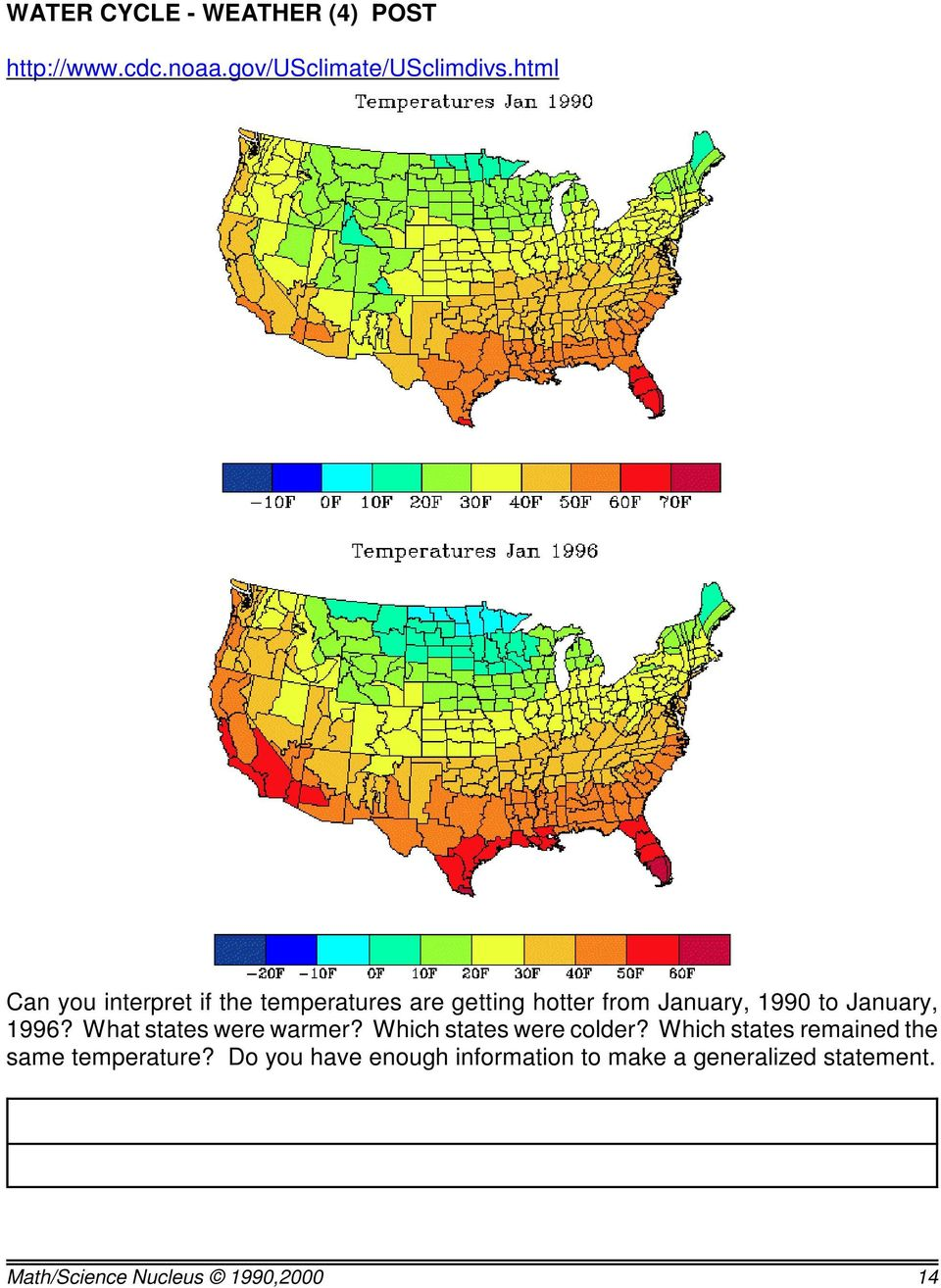 January, 1996? What states were warmer? Which states were colder?