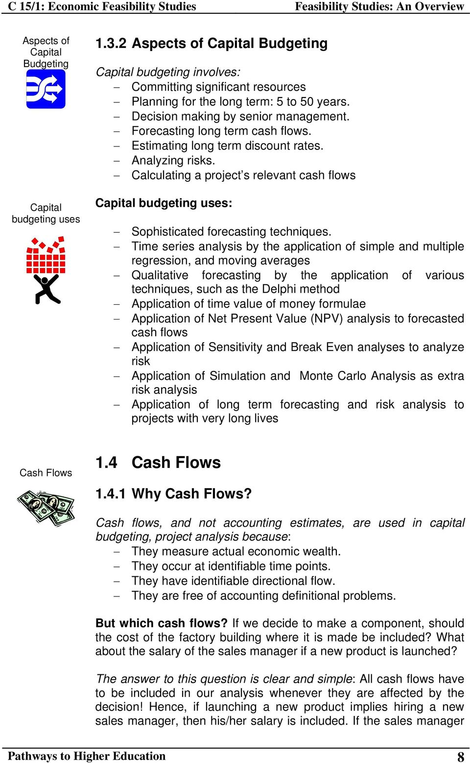 Calculating a project s relevant cash flows Capital budgeting uses: Sophisticated forecasting techniques.