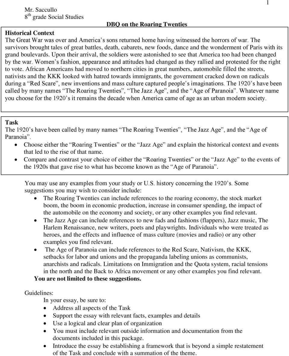the roaring 20s dbq Roaring twenties dbq project student example and writing practice activity directions: address the prompt by writing a thesis statement using your thesis formula.