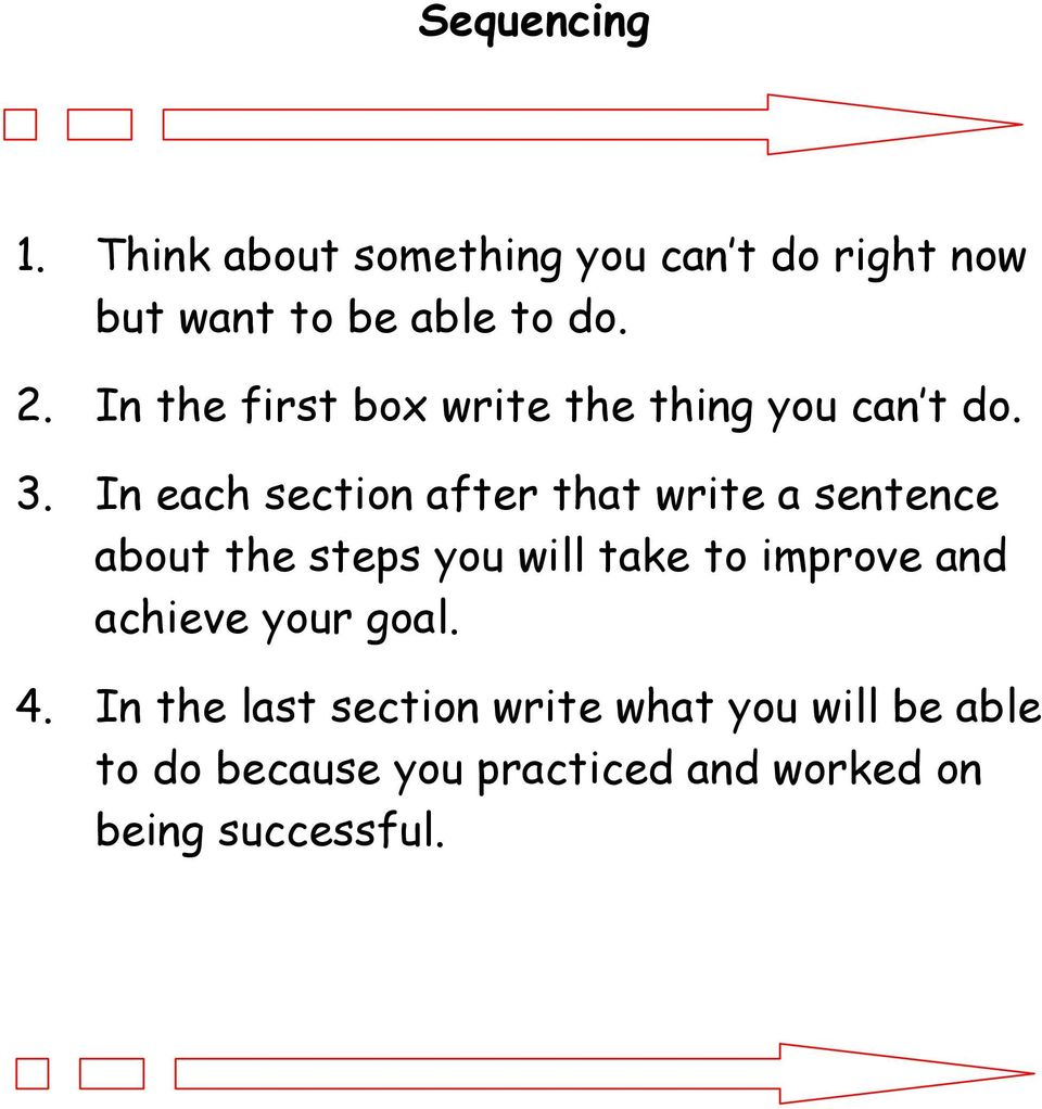 In each section after that write a sentence about the steps you will take to improve and