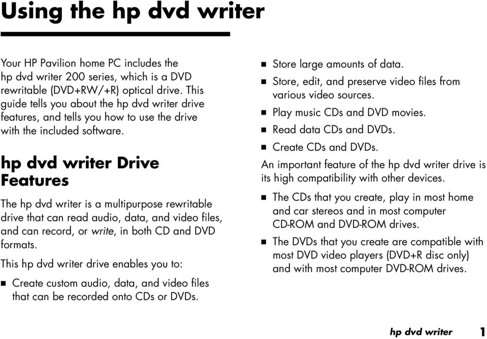 hp dvd writer Drive Features The hp dvd writer is a multipurpose rewritable drive that can read audio, data, and video files, and can record, or write, in both CD and DVD formats.