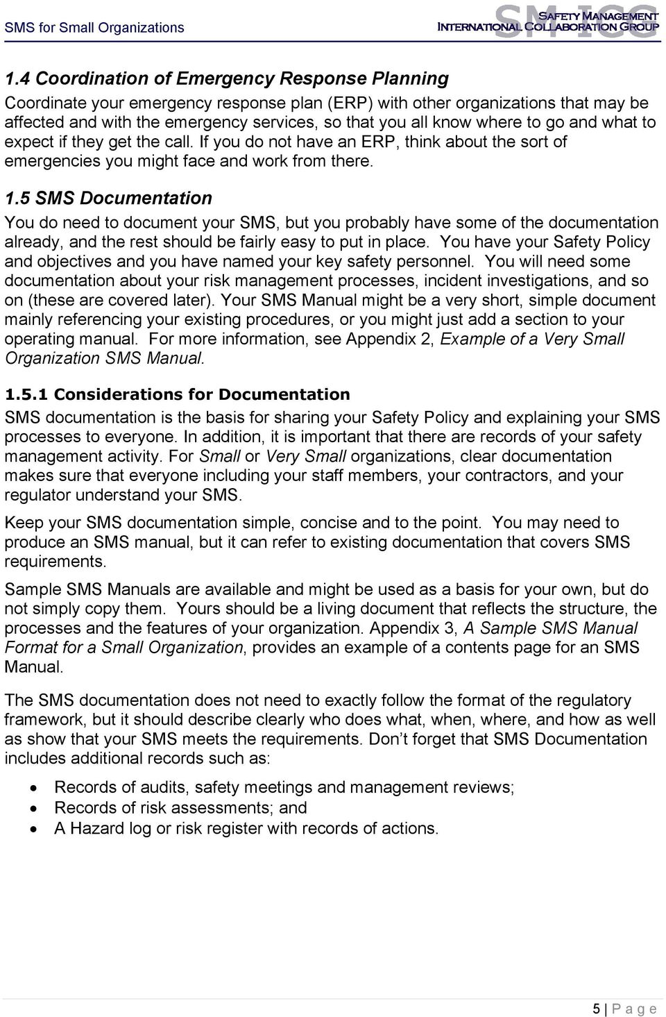 5 SMS Documentation You do need to document your SMS, but you probably have some of the documentation already, and the rest should be fairly easy to put in place.
