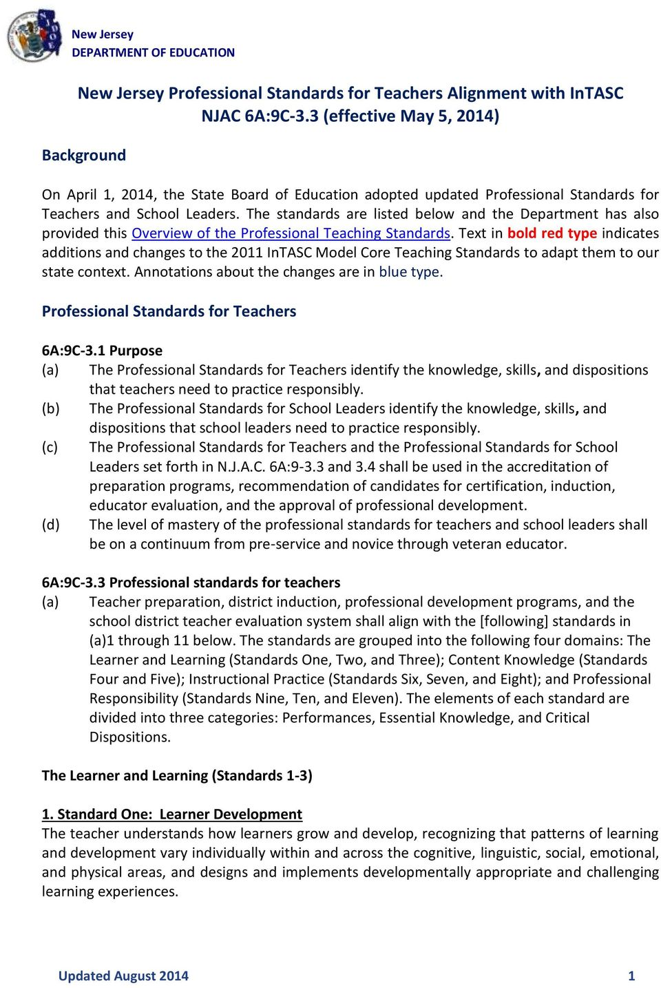 The standards are listed below and the Department has also provided this Overview of the Professional Teaching Standards.
