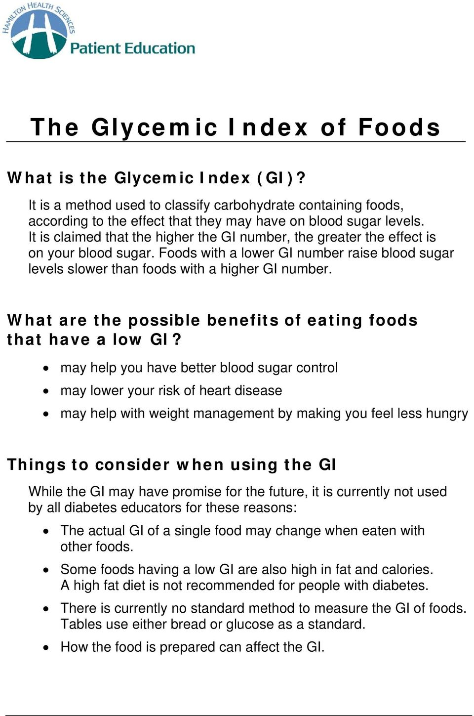 What are the possible benefits of eating foods that have a low GI?