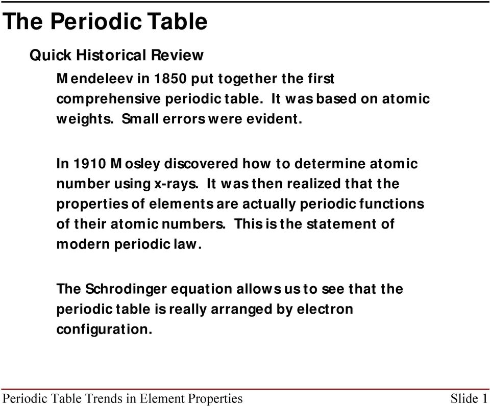 It was then realized that the properties of elements are actually periodic functions of their atomic numbers.
