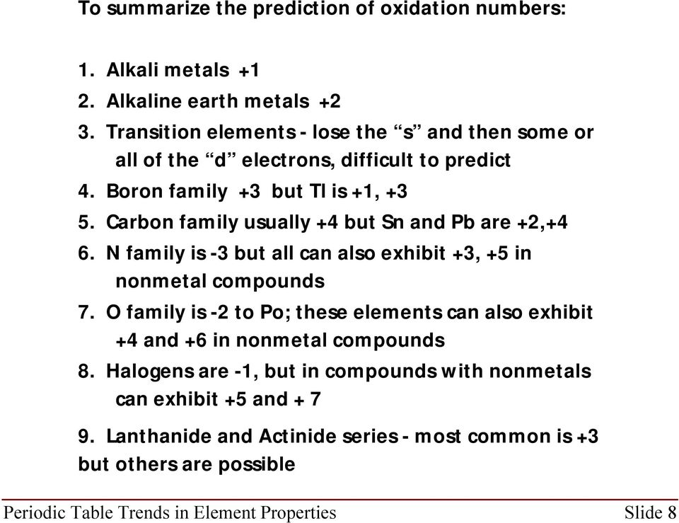 Carbon family usually +4 but Sn and Pb are +2,+4 6. N family is -3 but all can also exhibit +3, +5 in nonmetal compounds 7.