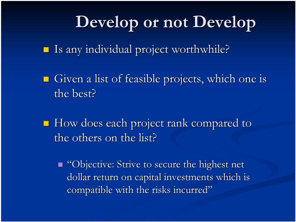 How does each project rank compared to the others on the list?