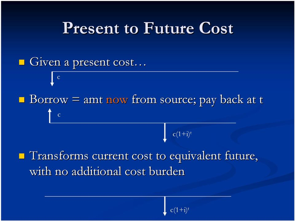 c(1+i) t Transforms current cost to equivalent