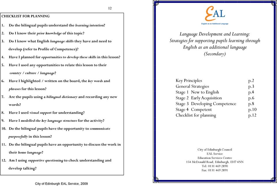 Language Development and Learning: Strategies for supporting pupils learning through English as an additional language (Secondary) 5.