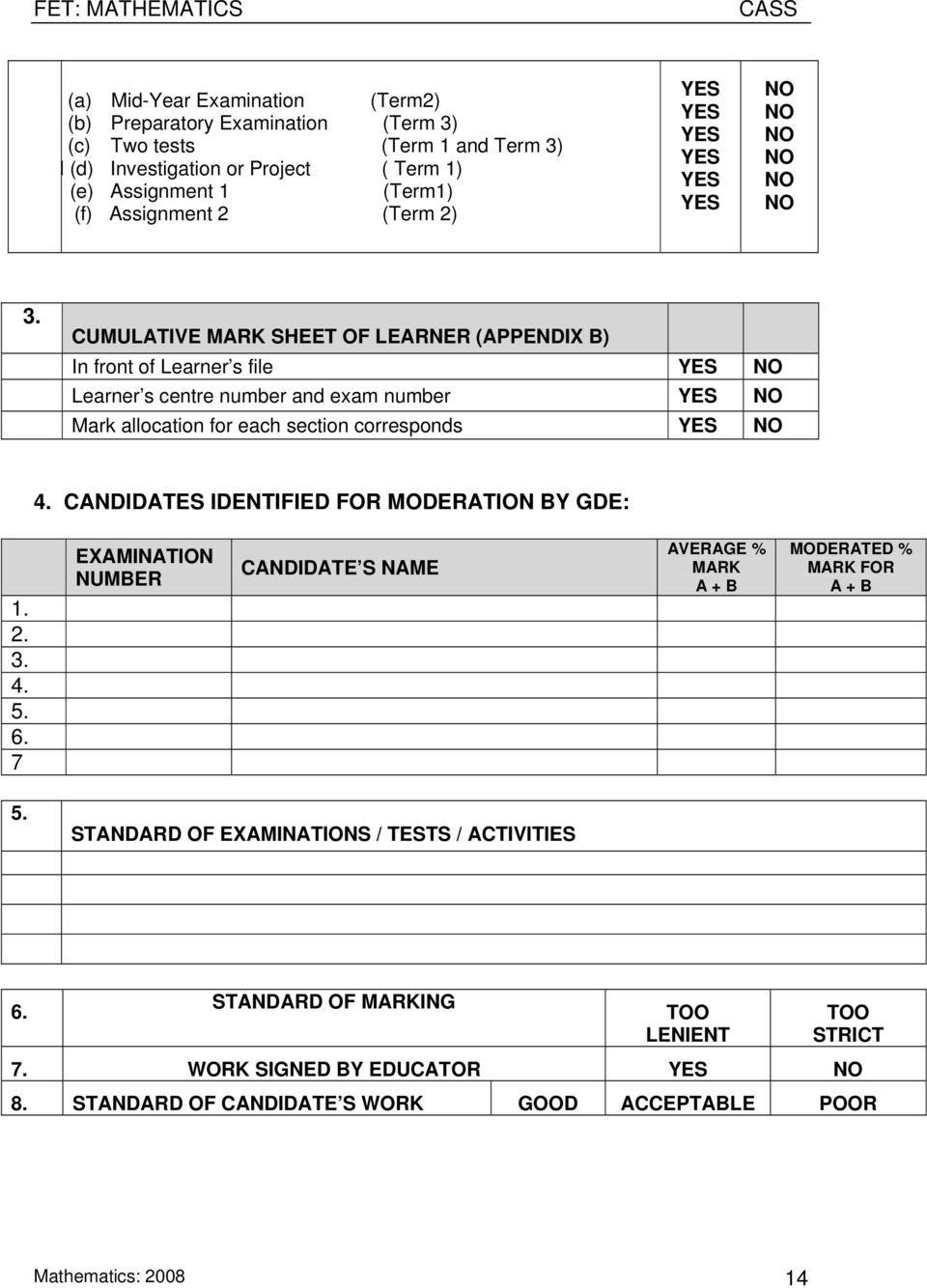CUMULATIVE MARK SHEET OF LEARNER (APPENDIX B) In front of Learner s file YES NO Learner s centre number and exam number YES NO Mark allocation for each section corresponds YES NO 4.