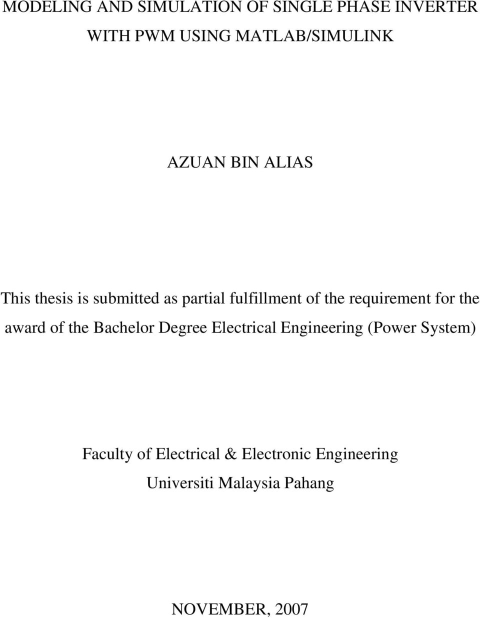 requirement for the award of the Bachelor Degree Electrical Engineering (Power