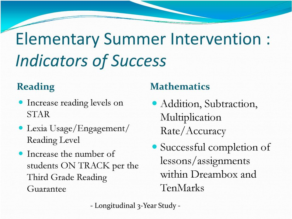 Third Grade Reading Guarantee Mathematics Addition, Subtraction, Multiplication Rate/Accuracy