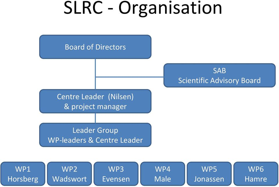 Board Leader Group WP-leaders & Centre Leader WP1