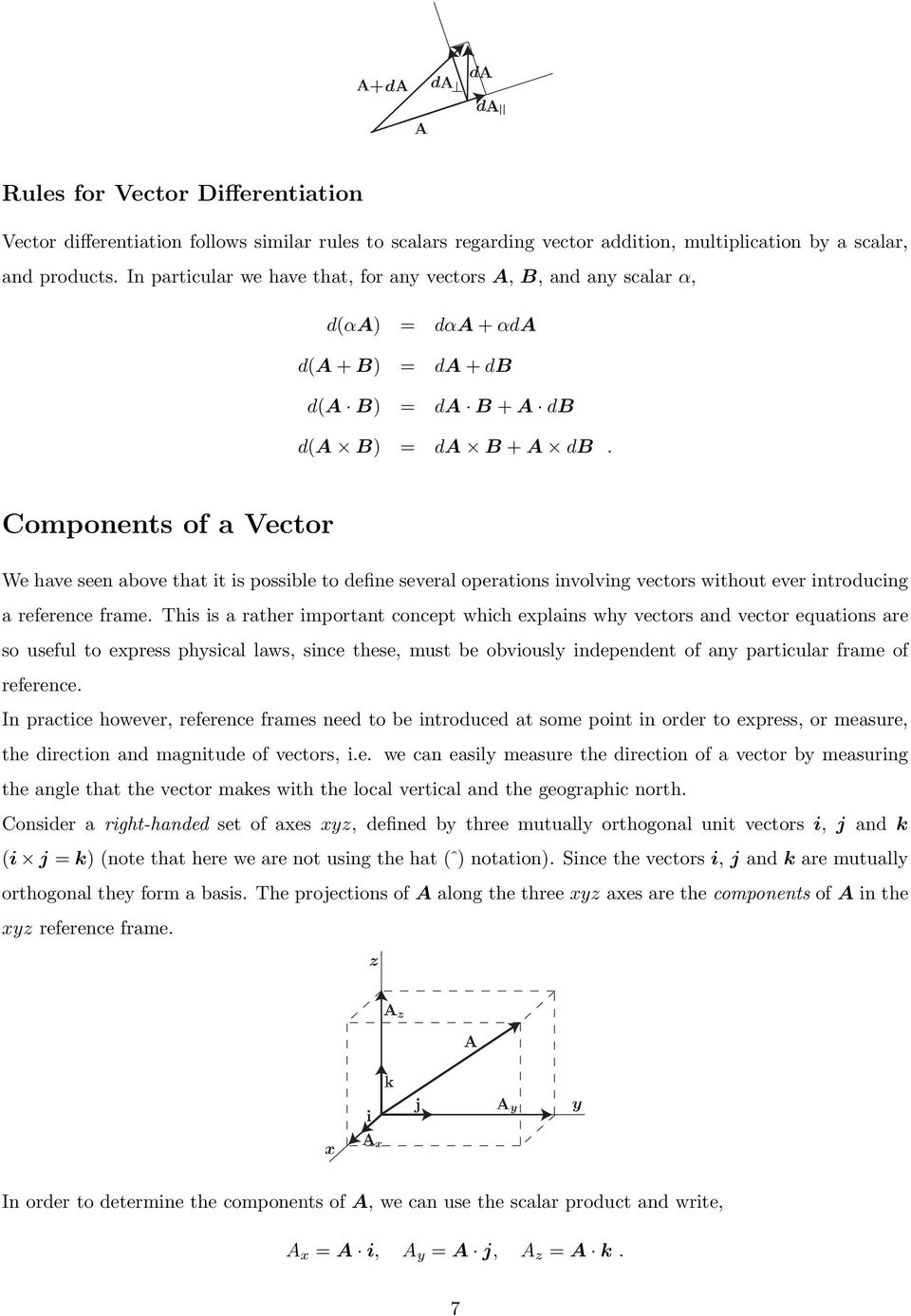 Components of a Vector We have seen above that it is possible to define several operations involving vectors without ever introducing a reference frame.
