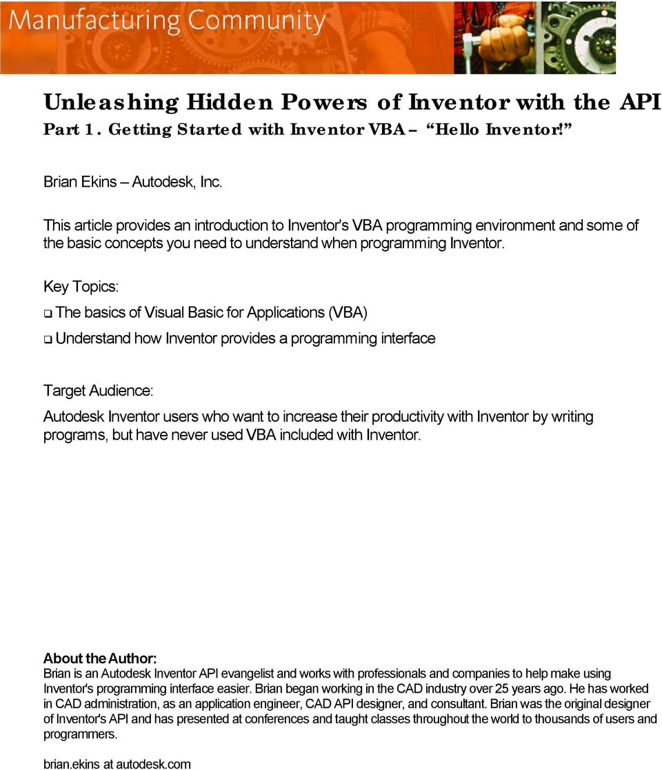 Unleashing Hidden Powers of Inventor with the API Part 1  Getting