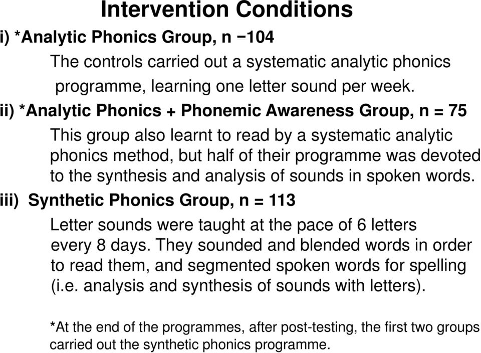 of sounds in spoken words. iii) Synthetic Phonics Group, n = 113 Letter sounds were taught at the pace of 6 letters every 8 days.