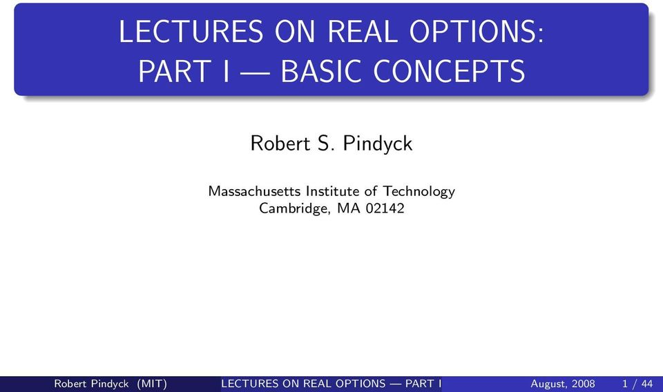 Pindyck Massachusetts Institute of Technology