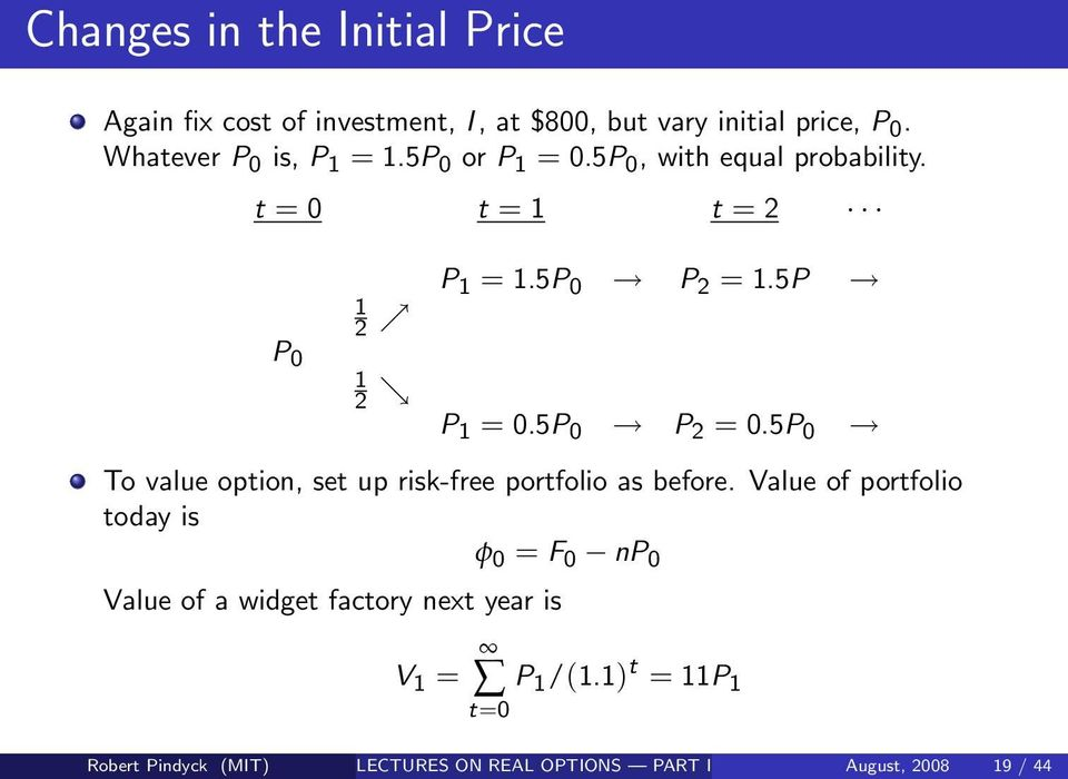 5P P 0 1 2 P 1 = 0.5P 0 P 2 = 0.5P 0 To value option, set up risk-free portfolio as before.