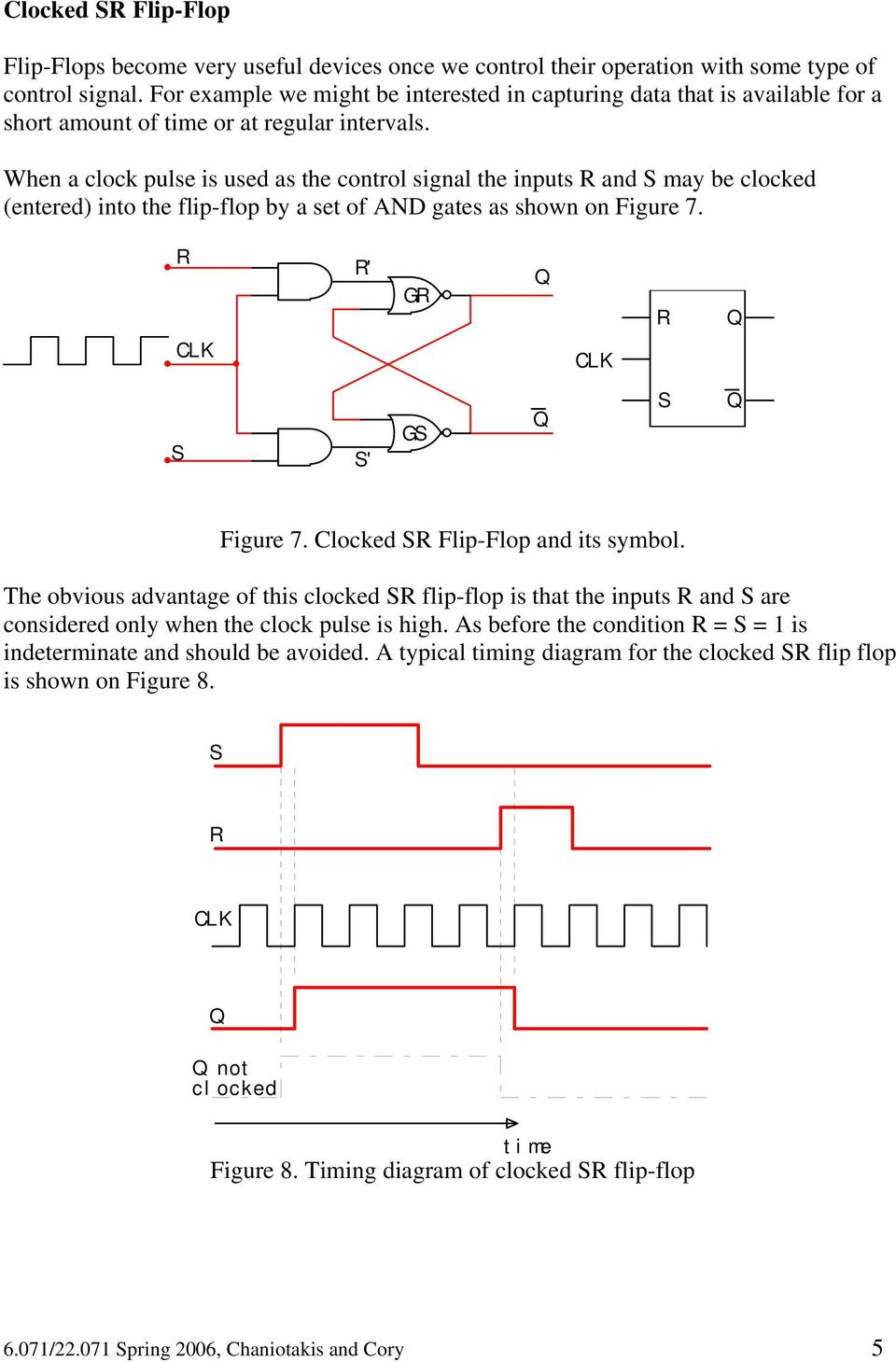 When a clock pulse is used as the control signal the inputs and may be clocked (entered) into the flip-flop by a set of AND gates as shown on Figure 7. ' G ' G Figure 7.