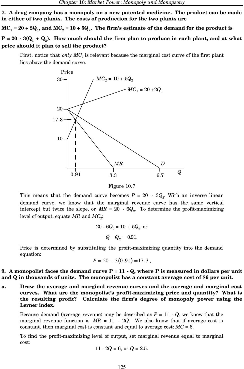 First, notice that only MC is relevant because the marginal cost curve of the first plant lies above the demand curve. 30 Price MC = 10 + 5Q MC 1 = 0 +Q 1 0 17.3 10 0.91 MR D 3.3 6.7 Figure 10.