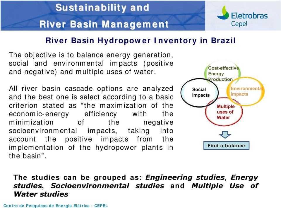 All river basin cascade options are analyzed and the best one is select according to a basic criterion stated as the maximization of the economic-energy efficiency with the minimization of the