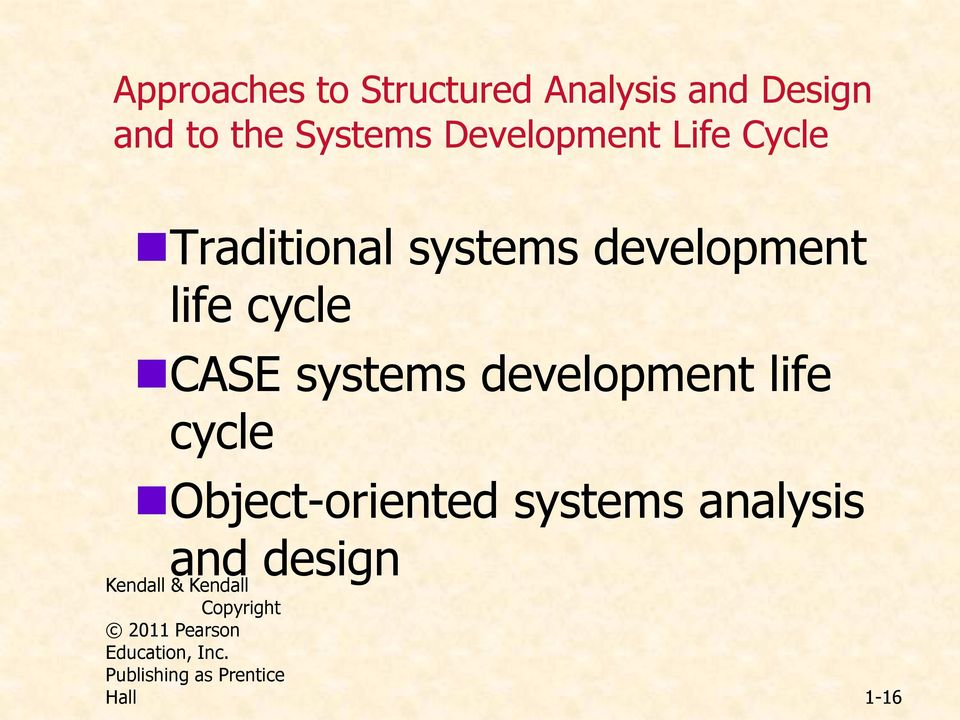 systems development life cycle Object-oriented systems analysis and design