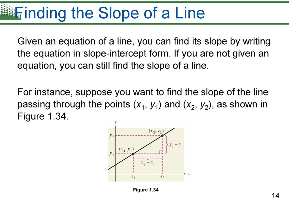 If you are not given an equation, you can still find the slope of a line.