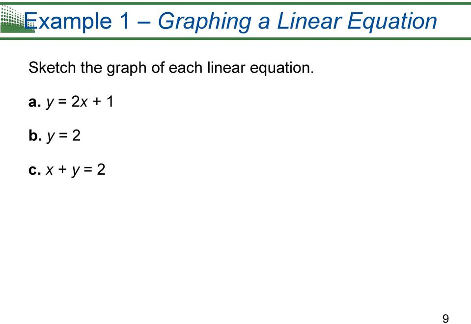 each linear equation. a.
