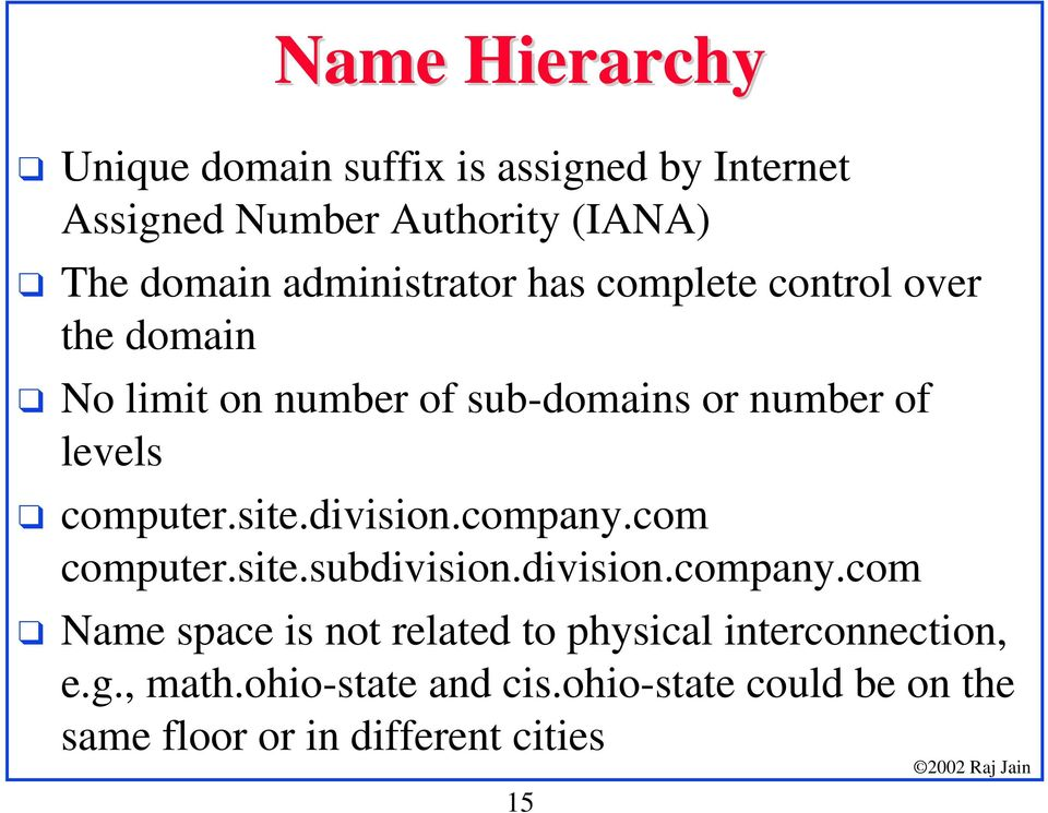 No limit on number of sub-domains or number of levels! computer.site.division.company.com computer.site.subdivision.