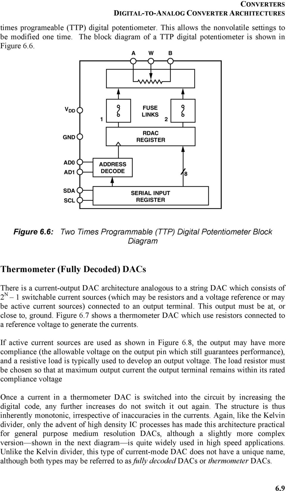 Chapter 6 Converters Pdf This Digitaltoanalog Converter Dac Integrated Circuit Is Designed Two Times Programmable Ttp Digital Potentiometer Block Diagram Thermometer Fully Decoded