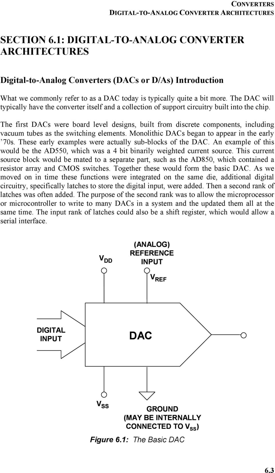 Chapter 6 Converters Pdf Cmos Integrated Analogtodigital And Digitaltoanalog The Dac Will Typically Have Converter Itself A Collection Of Support Circuitry Built Into