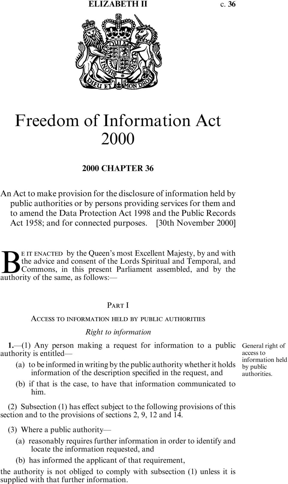 Data Protection Act 1998 and the Public Records Act 1958; and for connected purposes.