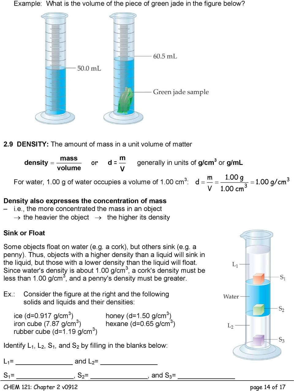 00 g d = = 3 V 1.00 cm = 1.00 g/cm Density also expresses the concentration of mass i.e., the more concentrated the mass in an object the heavier the object the higher its density Sink or Float Some objects float on water (e.